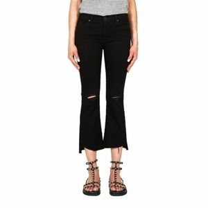 Black Orchid Jeans Black Denim Crop Distress Flare